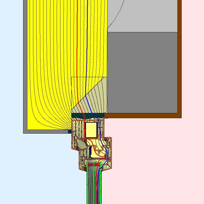 Przebieg izoterm dla górnego uszczelnienia złącza okiennego illbruck MOWO typ II