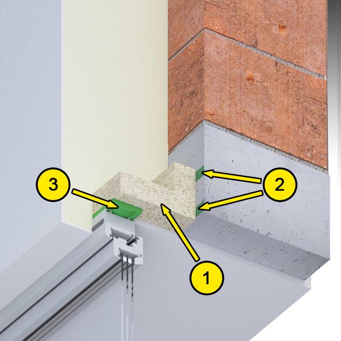 Górne uszczelnienie złącza okiennego illbruck MOWO typ III w ścianie dwuwarstwowej