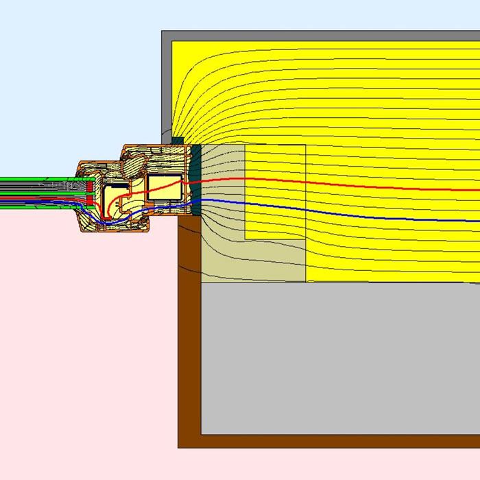 Przebieg izoterm dla bocznego uszczelnienia złącza okiennego w ścianie dwuwarstwowej illbruck MOWO typ III