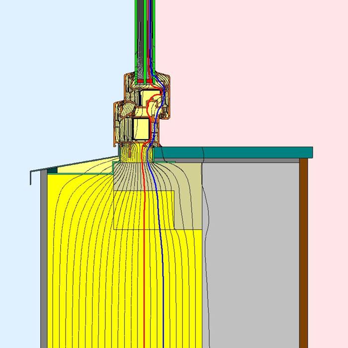 Przebieg izoterm dla dolnego uszczelnienia złącza okiennego w ścianie dwuwarstwowej illbruck MOWO typ III