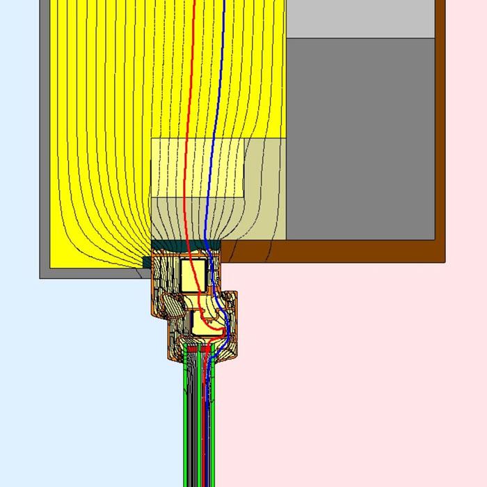 Przebieg izoterm dla górnego uszczelnienia złącza okiennego w ścianie dwuwarstwowej illbruck MOWO typ III