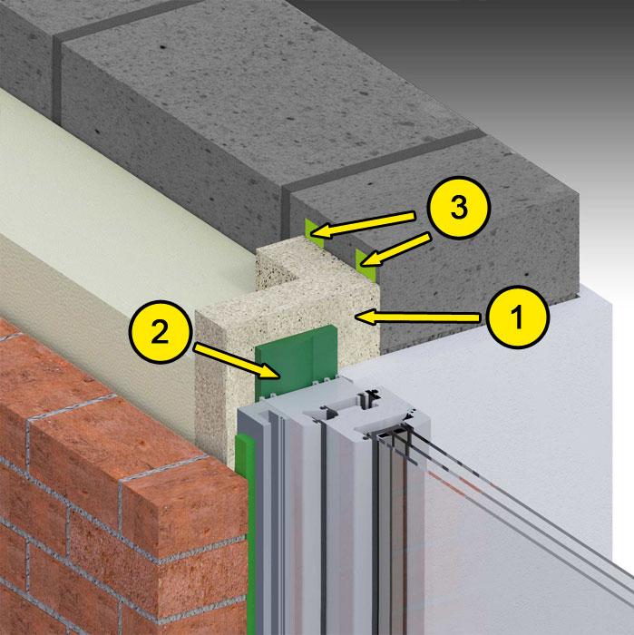 Boczne uszczelnienie złącza okiennego illbruck MOWO typ III w ścianie trójwarstwowej