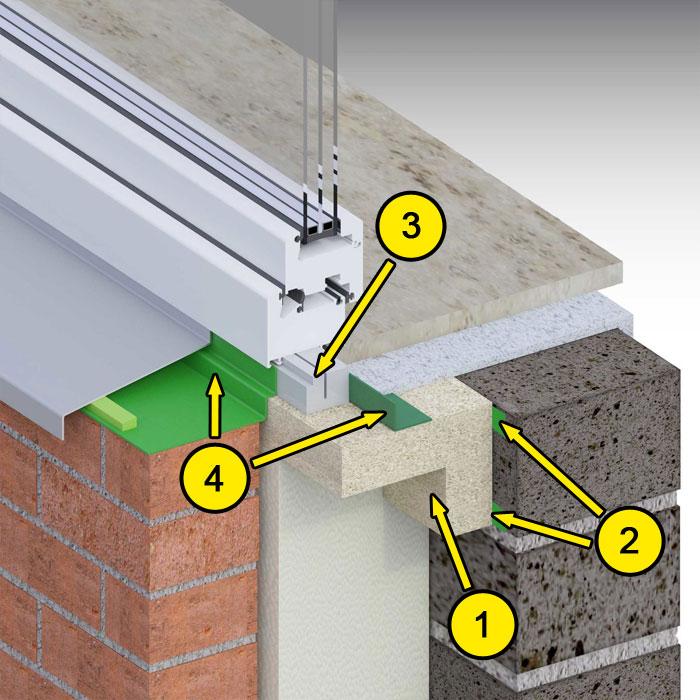Dolne uszczelnienie złącza okiennego w ścianie trójwarstwowej. Kombinacja środków uszczelniających. illbruck MOWO typ III
