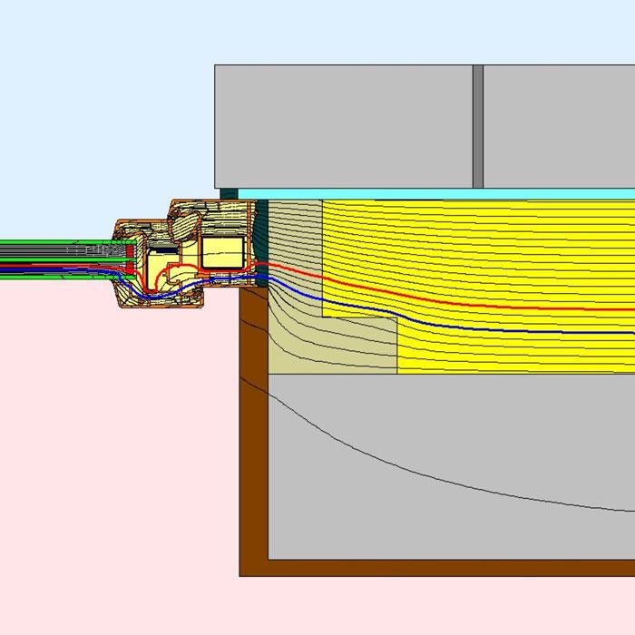 Przebieg izoterm dla bocznego uszczelnienia złącza okiennego w ścianie trójwarstwowej illbruck MOWO typ III