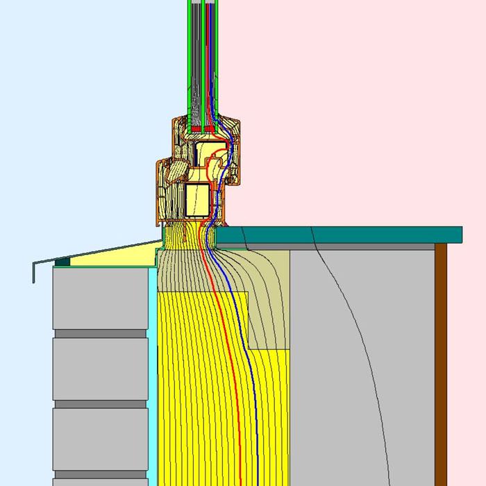 Przebieg izoterm dla dolnego uszczelnienia złącza okiennego w ścianie trójwarstwowej illbruck MOWO typ III
