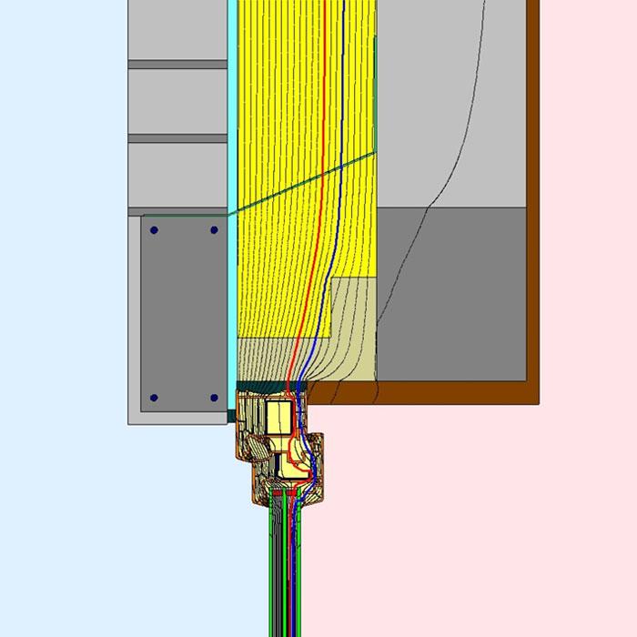 Przebieg izoterm dla górnego uszczelnienia złącza okiennego w ścianie trójwarstwowej illbruck MOWO typ III