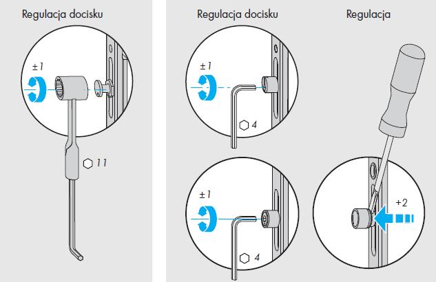 Okna regulacja okuć Siegenia - element B - punkty ryglowania - grzybek obrotowy