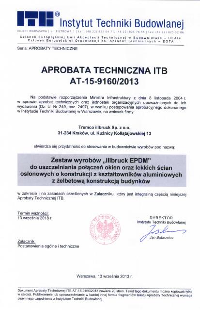 Aprobata techniczna ITB AT-15-9160/2013