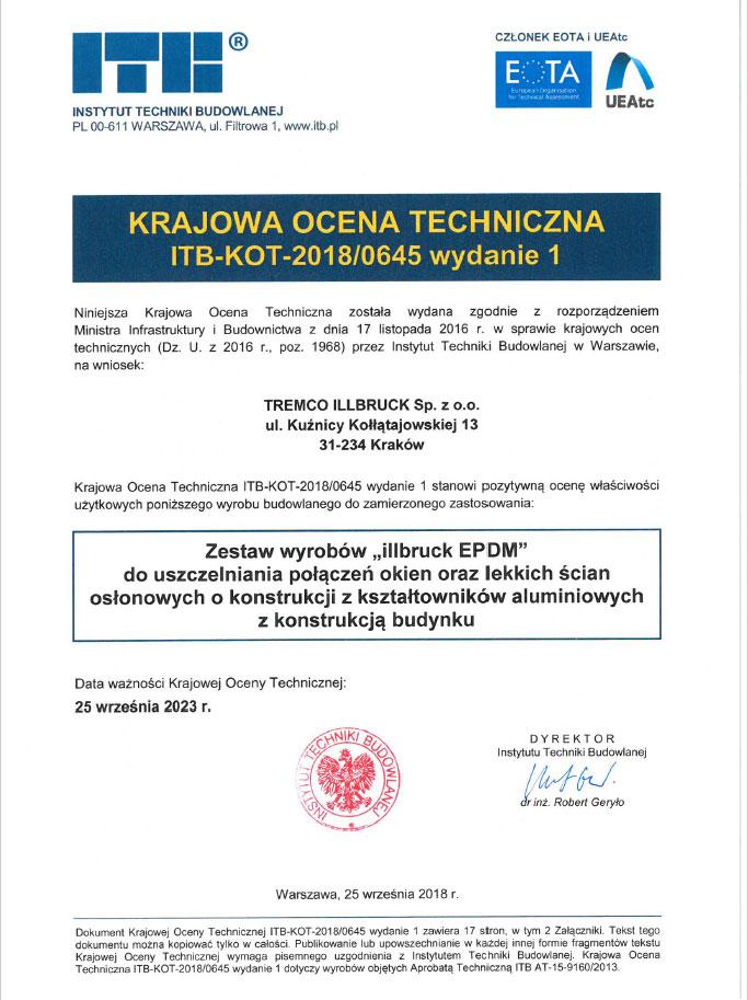 Krajowa Ocena Techniczna ITB-KOT-2018/0645