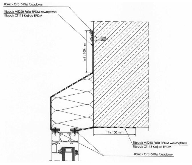 Uszczelnienie pomiędzy ościeżnicą okna i ścianą - przekrój pionowy
