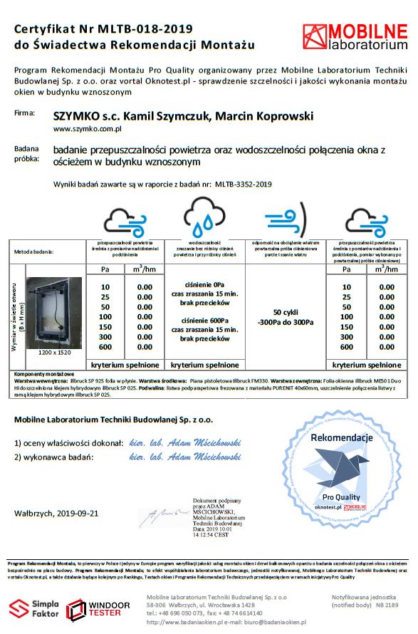 Certyfikat MLTB potwierdzający wynik badań szczelności powietrznej i wodoszczelności montażu.
