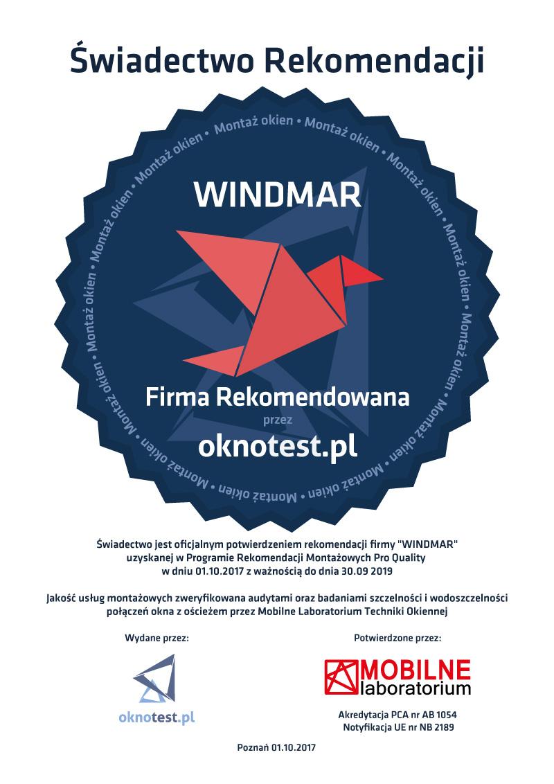 WINDMAR - Świadectwo Rekomendacji Montażu