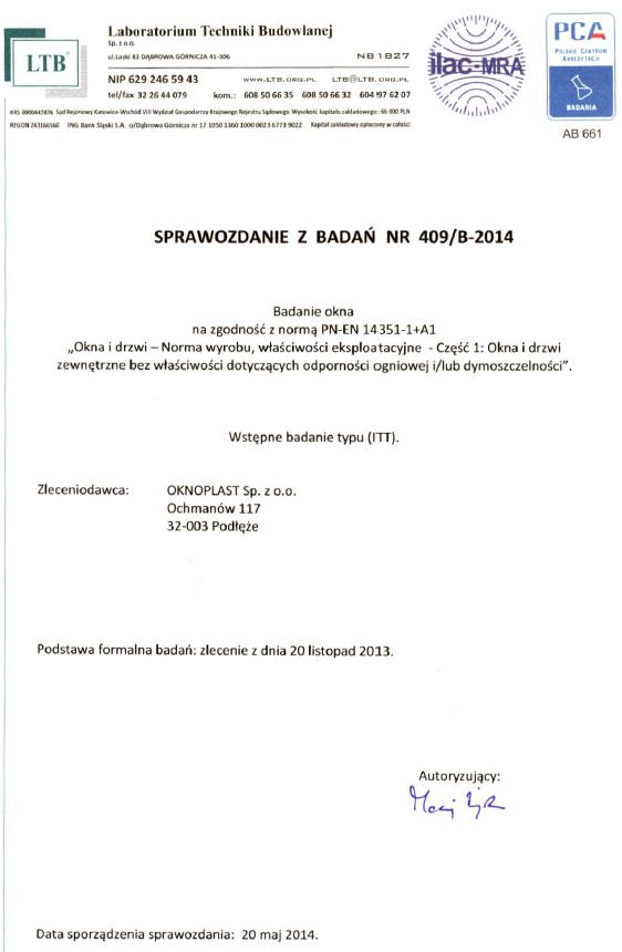 Raport z badań ITT okna Oknoplast Winergetic Premium
