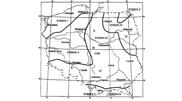 Strefy klimatyczne Polski. Mapa.