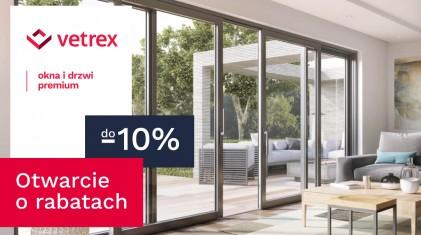 Zyskaj do 10% rabatu na zakup okien, drzwi i systemów przesuwnych Vetrex!