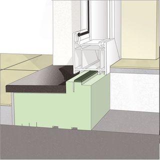 Jednoelementowy blok styropianowy w dolnym połączeniu drzwi