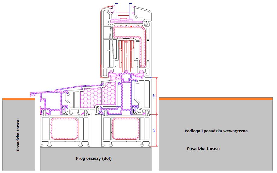 Próg drzwi balkonowych HST Veka Slide - poziomy posadzek