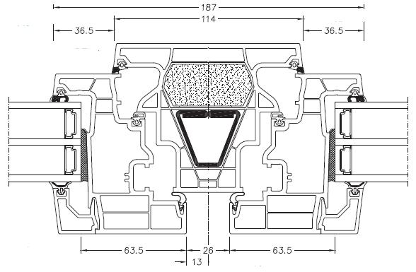 Internorm KF 410 złożenie rama skrzydło słupek stały