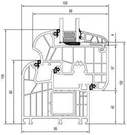 okno ideal 8000 bonding inside. Schemat i wymiary.