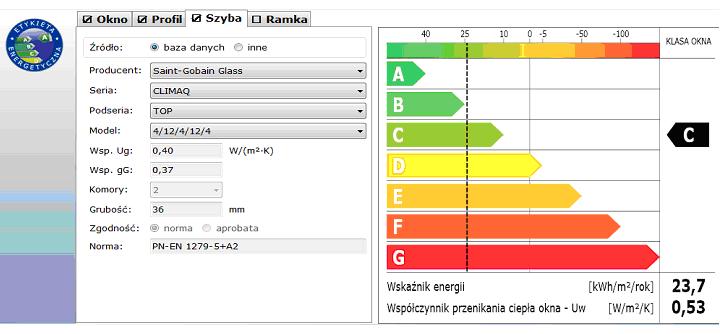 Etykieta energetyczna dane o szybieis