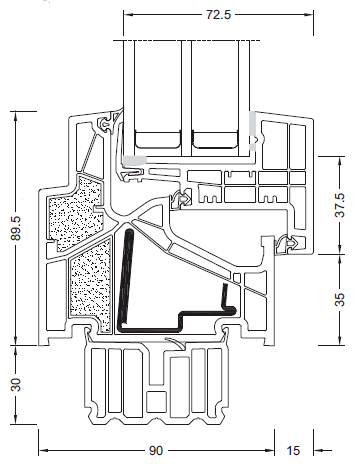 Schemat Internorm KF-500 szerokość całkowita 89,5mm