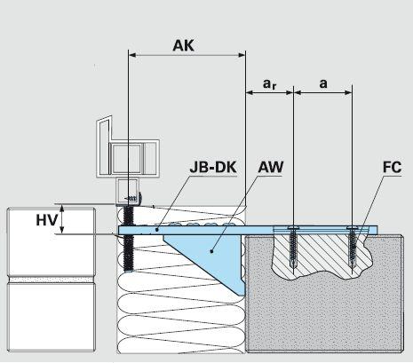 Schemat montażu konsoli dolnej JB-DK w ścianie z bloczków silikatowych, betonu i betonu komórkowego.