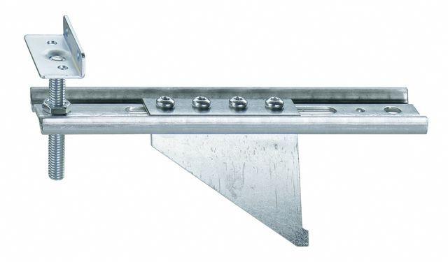 Konsola dolna JB-DK 100-AW75 HVW, przeznaczona do mocowania ramiaków dolnych ościeżnic wyposażonych w listwy progowe. Zakres regulacji położenia HV 30 mm. Wymiary maksymalnego wysunięcia AK od 80 do 100mm