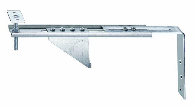 Konsola dolna JB-DK 100 ALW-AW75 HVP, przeznaczona do mocowania ramiaków dolnych ościeżnic bez listwy progowej w ścianie z pustaka. Zakres regulacji położenia HV 30 mm. Wymiary maksymalnego wysunięcia AK 100mm
