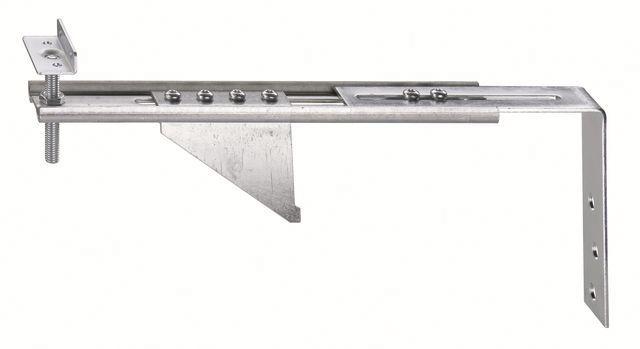 Konsola dolna JB-DK 100 ALW-AW75 HVW, przeznaczona do mocowania ramiaków dolnych ościeżnic wyposażonych w listwę progową w ścianie z pustaka. Zakres regulacji położenia HV 30 mm. Wymiary maksymalnego wysunięcia AK 100mm