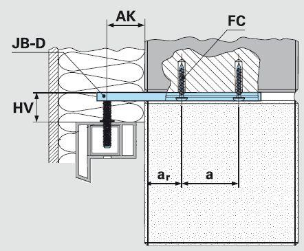 Schemat montażu wspornika bocznego JB-D