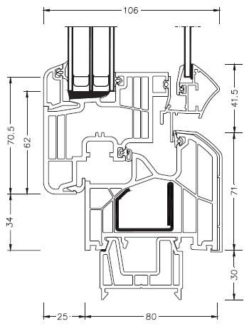 Schemat złożenia okna DIMENSION 4