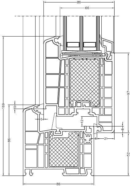 Drzwi Rehau Geneo z termoizolacją. Schemat.