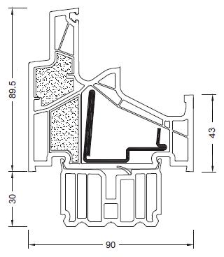 Internorm KF-500 schemat ramy ościeżnicy
