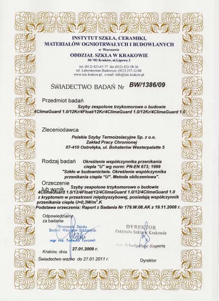 Certyfikat badań, PST, Polskie Szyby Termoizolacyjne - Quatro Thermo