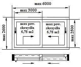 Drzwi HST. Drzwi unośno-przesuwne. Maksymalne wymiary konstrukcji. Szkic
