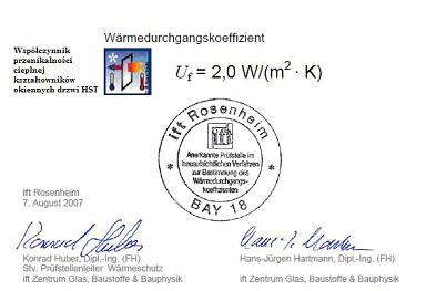 Drzwi HST. Drzwi unośno-przesuwne. Wyniki badań izolacji termicznej ITF Rosenheim
