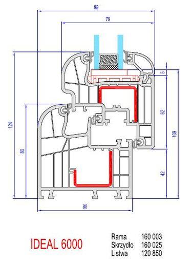 aluplast 6000 ideal intertec 6000 - przekrój