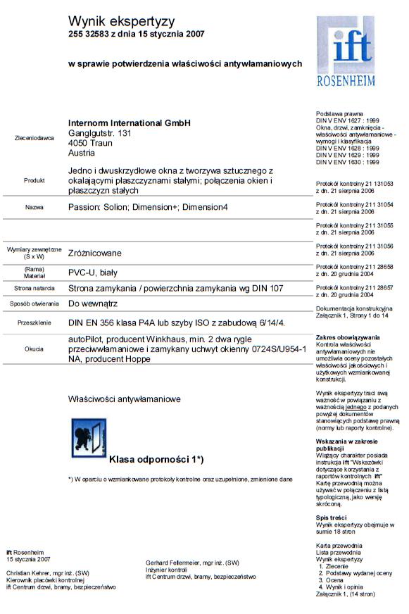 Okna PVC INTERNORM – odporność na włamanie klasa 1 (WK 1) – świadectwo badań