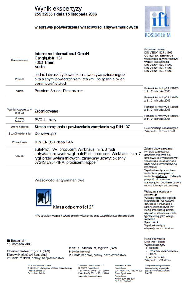 Okna PVC INTERNORM – odporność na włamanie klasa 2 (WK 2) – świadectwo badań