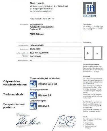 ITF Rosenheim. Certyfikat badań drzwi unośno-przesuwnych HST Ideal Intertec 4000.