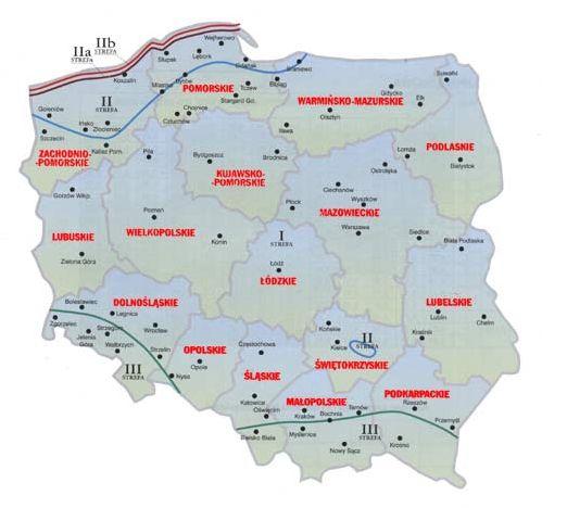 Strefy wiatrowe Polska. Strefy obciążenia wiatrem w Polsce