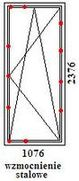 Drzwi balkonowe rehau geneo o wymiarach 1076mm szerokości na 2376mm wysokości