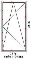 Drzwi balkonowe rehau geneo o wymiarach 1376mm szerokości na 2676mm wysokości