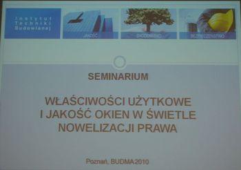 Seminarium ITB. Budma 2010.