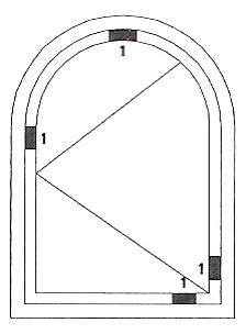 klocki podporowe szyby zespolonej. Sposób rozmieszczenia w oknie rozwiernym z łukiem.