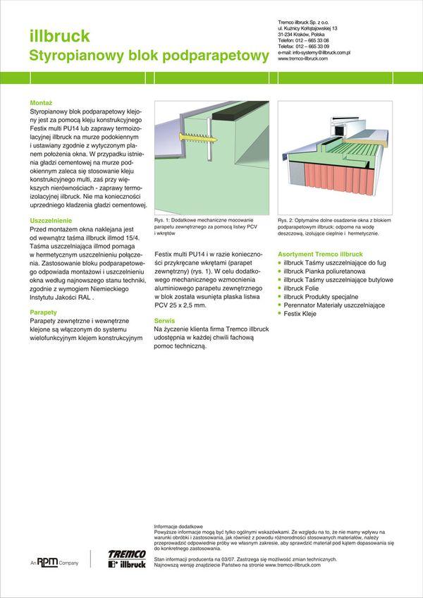 Podparapetowy blok styropianowy TREMCO illbruck