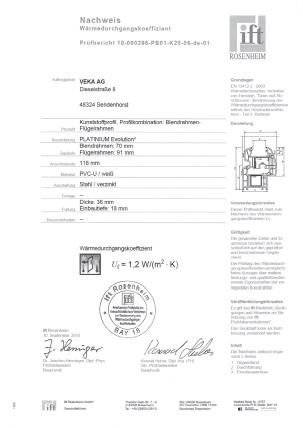 świadectwo badań OKNOPLAST Platinum Eveloution2