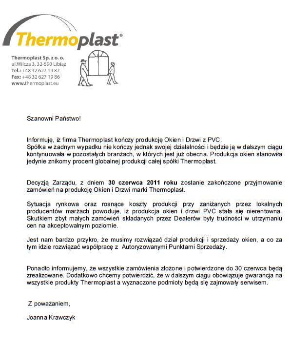 Thermoplast. Oświadczenie o zakończeniu produkcji okien PCV.