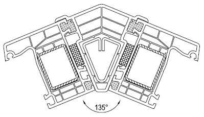 Systemowy łącznik kątowy 45°/135°