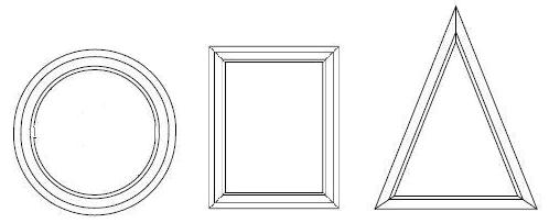 Figury geometryczne określające podstawowe kształty okien PVC.